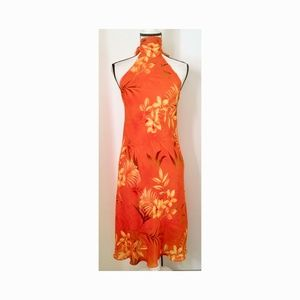Alyn Paige Orange Tropical Print Long Halter Dress